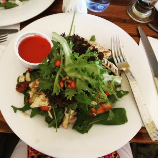 Chicken strawberry salad.. huge portion and great taste!