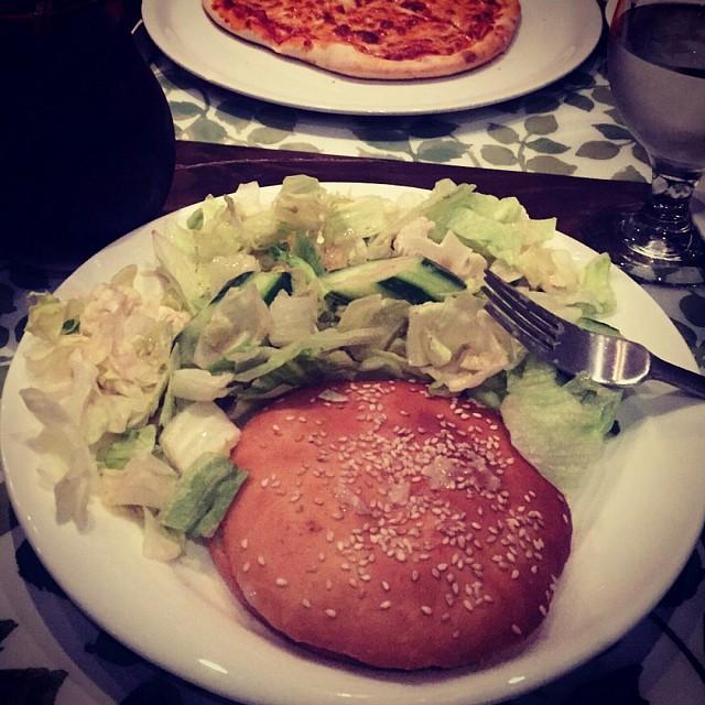 Dinner.. cheese sandwich + salad