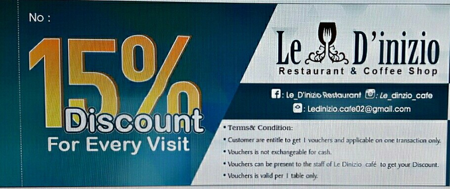 Coupons for the regular customer @ le dinizio cafe - Bahrain