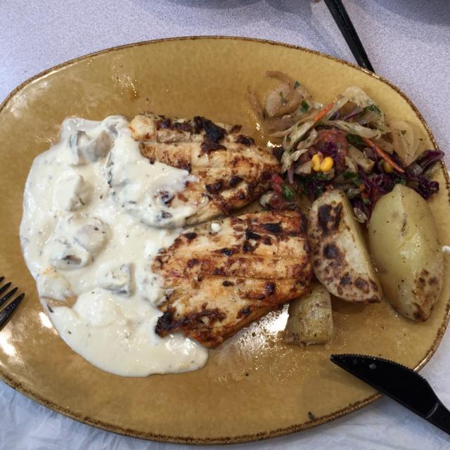 Grilled chicken cream sauce