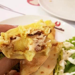 Turkey cheese waffle