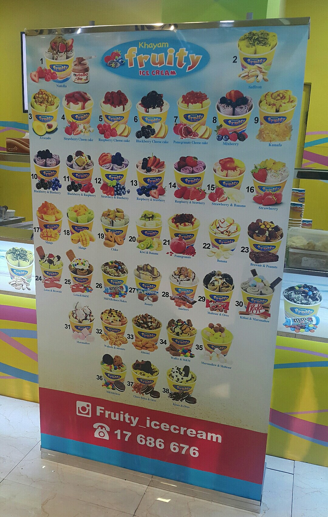 #icecream different flavours @ khayam Fruity Icecream - Bahrain