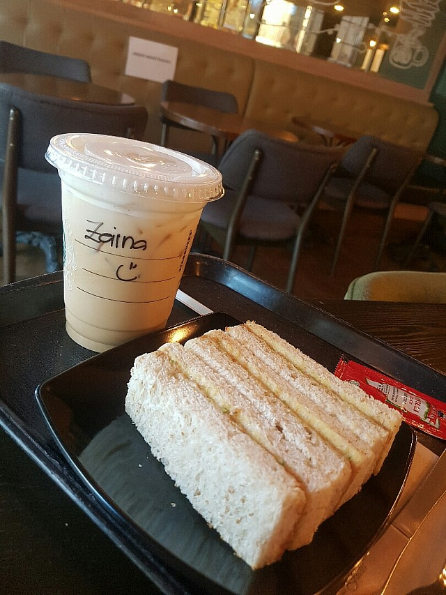 Iced cappuccino with tuna sandwich