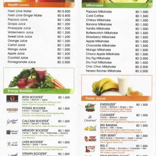Menu for Juice Lounge
