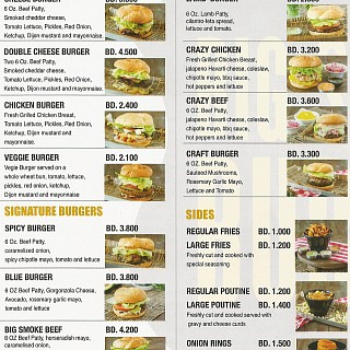 Menu for Big Smoke Burger