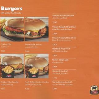 Menu for Burgerland