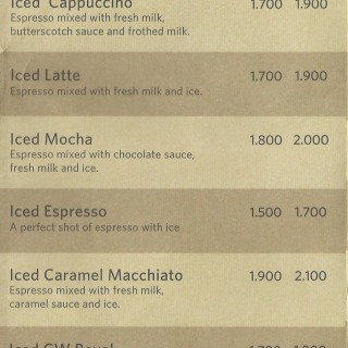 Menu for Coffee World