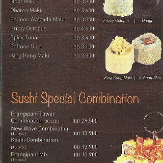 Menu for Frangipani