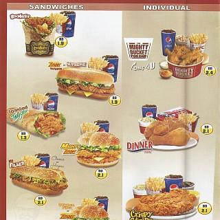 Menu for KFC