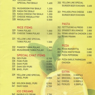 Menu for The Yellow Line
